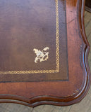 French Cassard Romano Tooled Leather Top Game Table, Dining Table With Retractable Holders