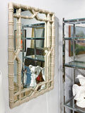 Large Mid Century Hollywood Regency Faux Bamboo Mirror