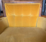 Mid Century Flared Arm Chair in Yellow Velvet