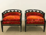 Pair, Mid Century Barrel Back Club Chairs in Jack Lenor Larsen Fabric
