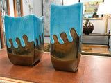 Pair, Turquoise and Gold Vases