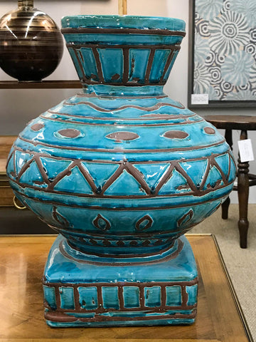 Large Turquoise Incised Pottery Vase Reposed Ny Vintage And