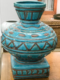 Large Turquoise Incised Pottery Vase