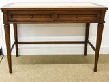 Mid Century Marble Top Console Table, Desk - Signed White Furniture