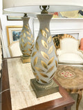 Pair, Large Mid Century Glass Gold Leaf Lamps