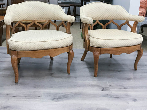 Pair, Mid Century Scroll Back Hollywood Regency Club Chairs
