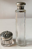 Pair, Antique Art Nouveau Glass and Sterling Bottles