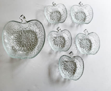 Glass Apple Shape Fruit Bowl and 5 Side Dishes