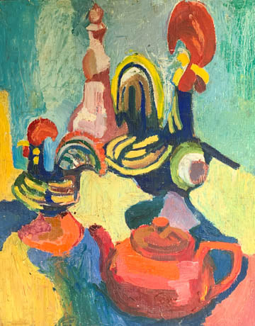 Mid Century Impasto Still Life Painting, Tea Party - Signed