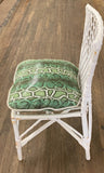 Rattan Chair With Faux Snakeskin Upholstered Seat Cushion