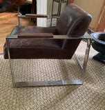 Mid Century Style Chrome and Leather Chair