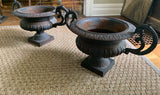 Pair, Antique Cast Iron Garden Ornaments - Urns