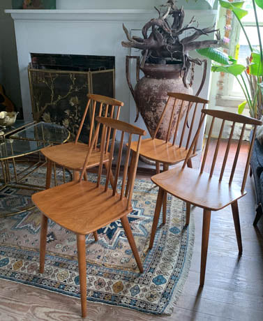 Folke Palsson for Fdb Mobler Mid Century Model J77 Chairs Circa 1970's