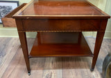Leather Top Side Table