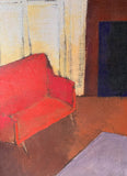 Mid Century Oil Painting - Red Sofa