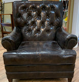 Mid Century Brown Leather Tufted Back Lounge Chair and Matching Ottoman