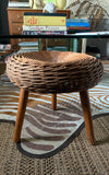 Mid Century Wicker 3 Legged Stool, in the Manner of Tony Paul