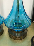 Mid Century Blue Glass Lamps - a Pair