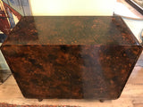 Mid Century Tortoise Shell Finish 2 Door Cabinet, Credenza, Bar