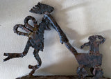 Mid Century Brutalist Iron Statue - Mother and Baby Carriage