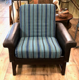 Mid Century Leather Chair With Striped Canvas