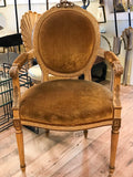 Antique French Provincial Arm Chair in Velvet, Signed