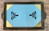Antique Art Deco Reverse Painted Glass Tray