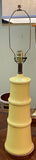 Mid Century Yellow Pagoda Lamp With Silk Pagoda Shape Shade - Attributed to Laurel