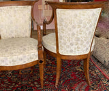 Pair, Biedermeier Arm Chairs With Black Diamond Inlay