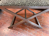 X Base Brushed Chrome Bench in Leopard
