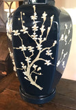 Pair, Mid Century Navy Ceramic Lamps With Cherry Blossom Design
