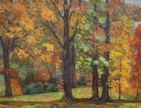 Mid Century Oil on Canvas Painting - Autumn, Signed