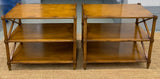Pair, Mid Century Side Tables With Criss Cross Sides