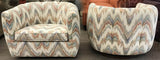 Pair, Mid Century Milo Baughman Style Swivel Club Chairs