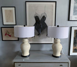 Pair Mid Century Asian Off White Ceramic Lamps