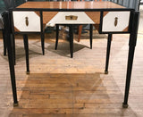 Antique Walnut Deco Desk in Black and White, Signed