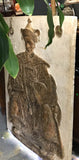 "Mid Century Emperor Wall Sculpture - James Mont Influence, Signed, 49"" H"