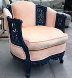 Antique Carved Asian Inspired Chair in Navy