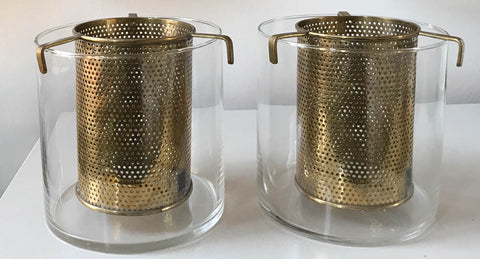 Pair, Mid Century Glass and Brass Wine Holders