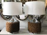 Pair, 1970's Cork and Chrome Lamps