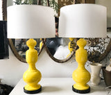Pair, Mid Century Yellow Ceramic Lamps