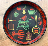 Mid Century Metal Tray - Bbq and Food and Drink Fun!