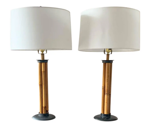 Pair, Mid Century Bamboo Lamps