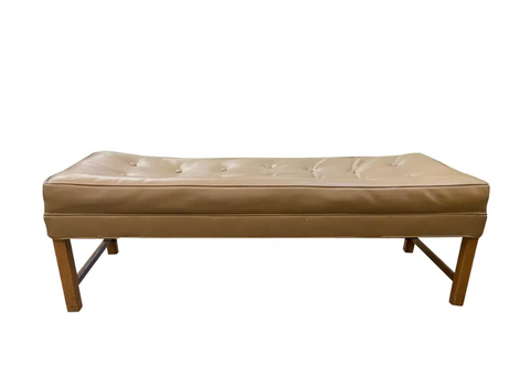 Mid Century Bench - Button Top in Beige