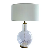 Mid Century Swirl Glass Table Lamp, Attributed to Laurel