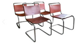 Mid Century Corset Tie Back Leather and Chrome Dining Chairs - Set of 4