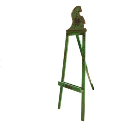 Mid Century Painting Easel - French, Florentine Painted Green Paint