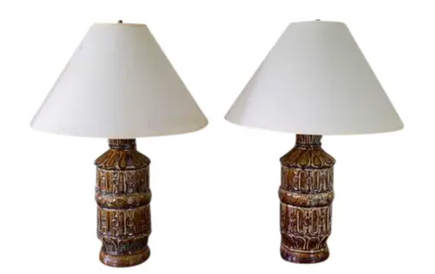 Mid Century Brown Ceramic Lamps - a Pair