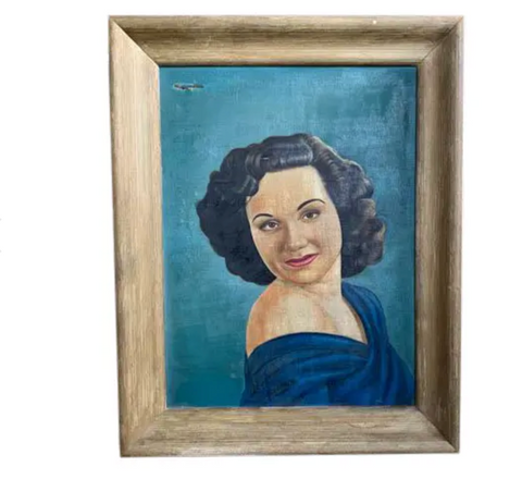 Mid Century Portrait, Painting - Happy in Blue