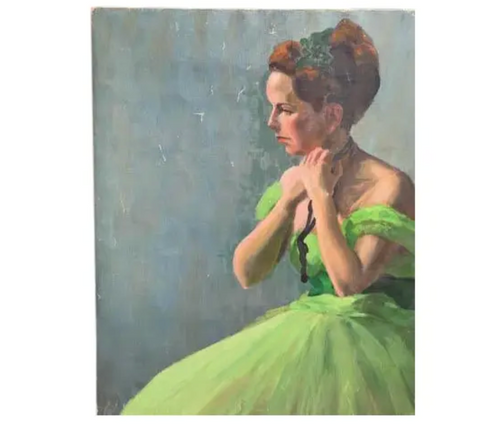 Mid Century Lady Painting - Green Dress